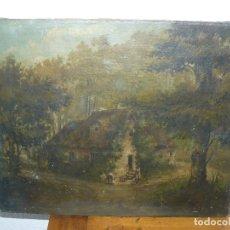 Arte: OLEO SOBRE TELA . FIRMA ILEGIBLE - LA CASA DEL BOSQUE. Lote 191578656