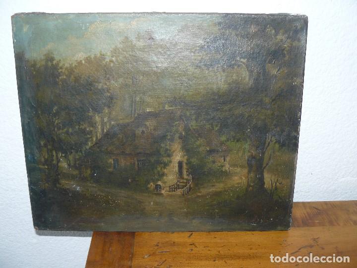 Arte: OLEO SOBRE TELA . FIRMA ILEGIBLE - LA CASA DEL BOSQUE - Foto 3 - 191578656