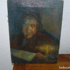 Art: OLEO SOBRE TELA - ANONIMO - LECTURA EN LA PENUMBRA. Lote 191580791