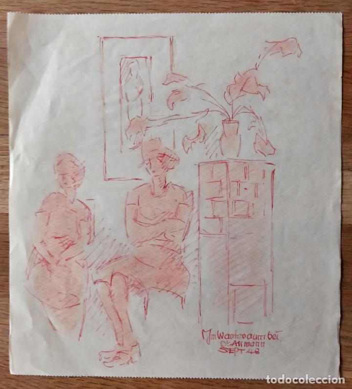 INTERESANTE PASTEL ORIGINAL FIRMADO Y FECHADO 1948, ESCUELA ALEMANA (Arte - Pintura - Pintura al Óleo Antigua sin fecha definida)