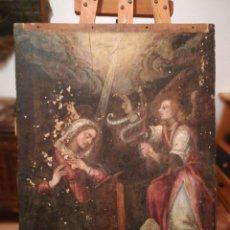 Arte: LA ANUNCIACIÓN. ÓLEO SOBRE TABLA DEL XVII. Lote 191628931