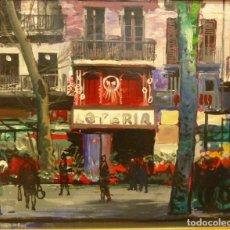Arte: FREDERIC LLOVERAS - LAS RAMBLAS - OLEO - 51 X 61 CM.. Lote 191723031