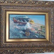 Arte: PESCADOR EN LA PLAYA DE VALENCIA. CUADRO AL ÓLEO DE EUSTAQUIO SEGRELLES. Lote 191727162