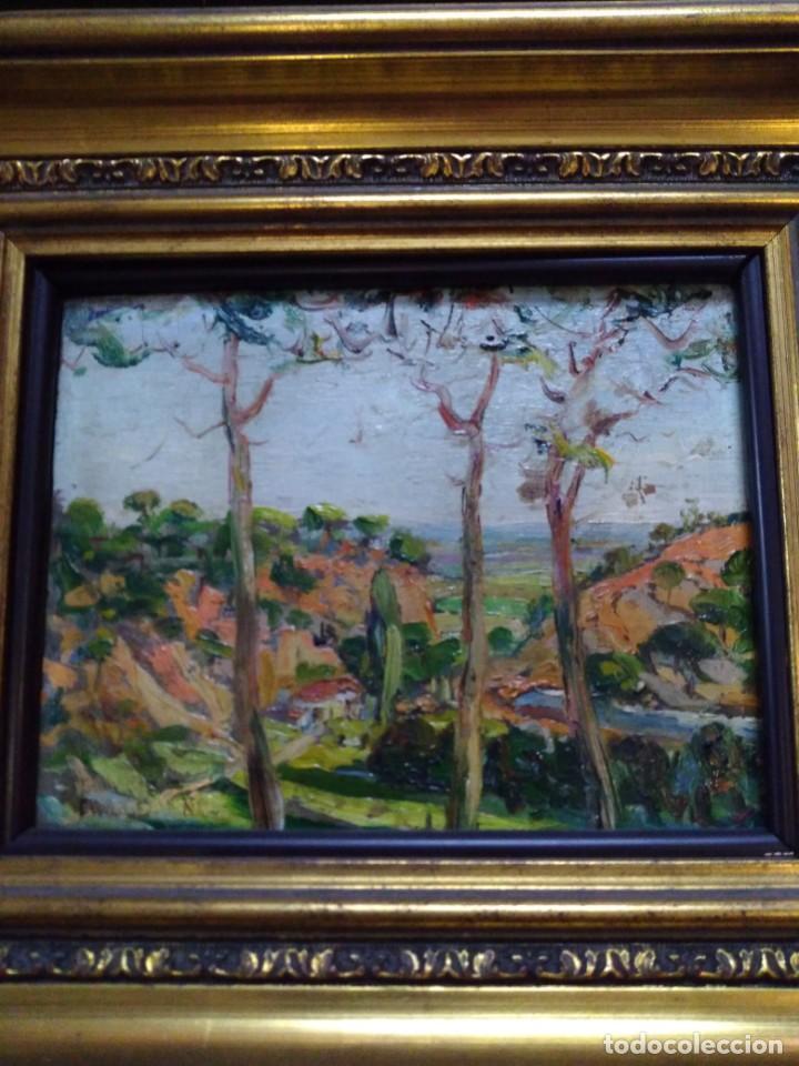 Arte: Paisaje, óleo sobre tabla - Foto 5 - 191777357