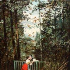 Arte: JUAN EGEA Y MARIN (MURCIA, 1860 - ?) OLEO SOBRE TELA. ESCENA ROMANTICA. 66 X 46 CM.. Lote 191794990