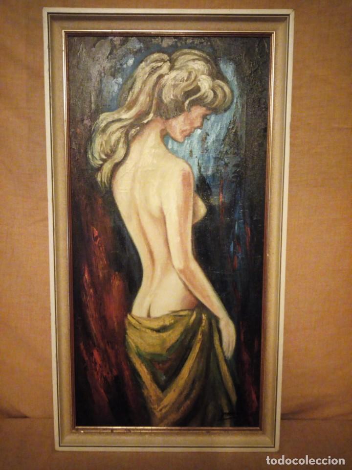 Arte: Precioso desnudo femenino pintado al oleo sobre lienzo.Firmado Marcos - Foto 3 - 191829937