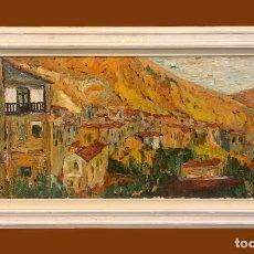Arte: PUEBLO ESPAÑOL, MAGISTRAL PAISAJE FIRMADO BRIZ. Lote 191832422