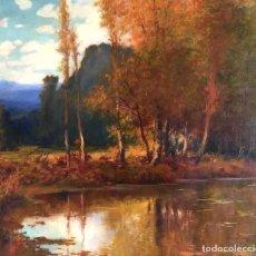 Arte: ANTONI ROS I GUELL (BARCELONA, 1877-1954).ÓLEO DE TEMÁTICA PAISAJÍSTICA DE GRAN FORMATO. Lote 191882283