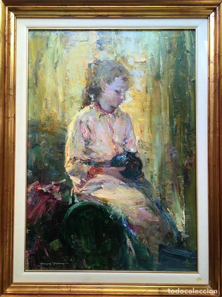 LUIS GINER BUENO (1935-2000) MAGNÍFICO ÓLEO SOBRE LIENZO DEL PINTOR TITULADO CONTRALUZ (Arte - Pintura - Pintura al Óleo Contemporánea )