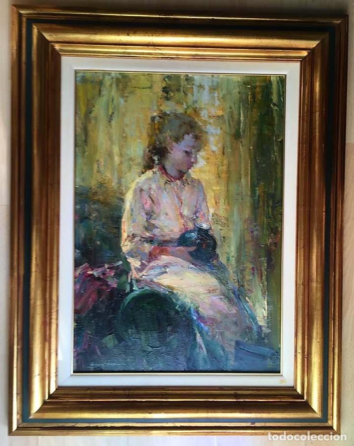 Arte: LUIS GINER BUENO (1935-2000) Magnífico óleo sobre lienzo del pintor titulado Contraluz - Foto 2 - 191885061