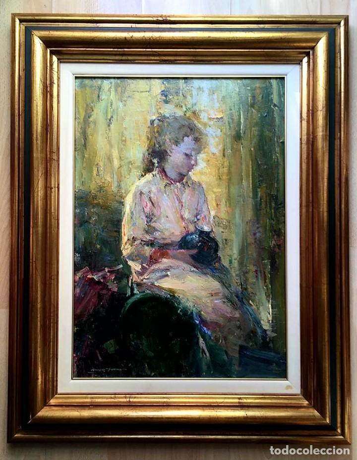 Arte: LUIS GINER BUENO (1935-2000) Magnífico óleo sobre lienzo del pintor titulado Contraluz - Foto 3 - 191885061