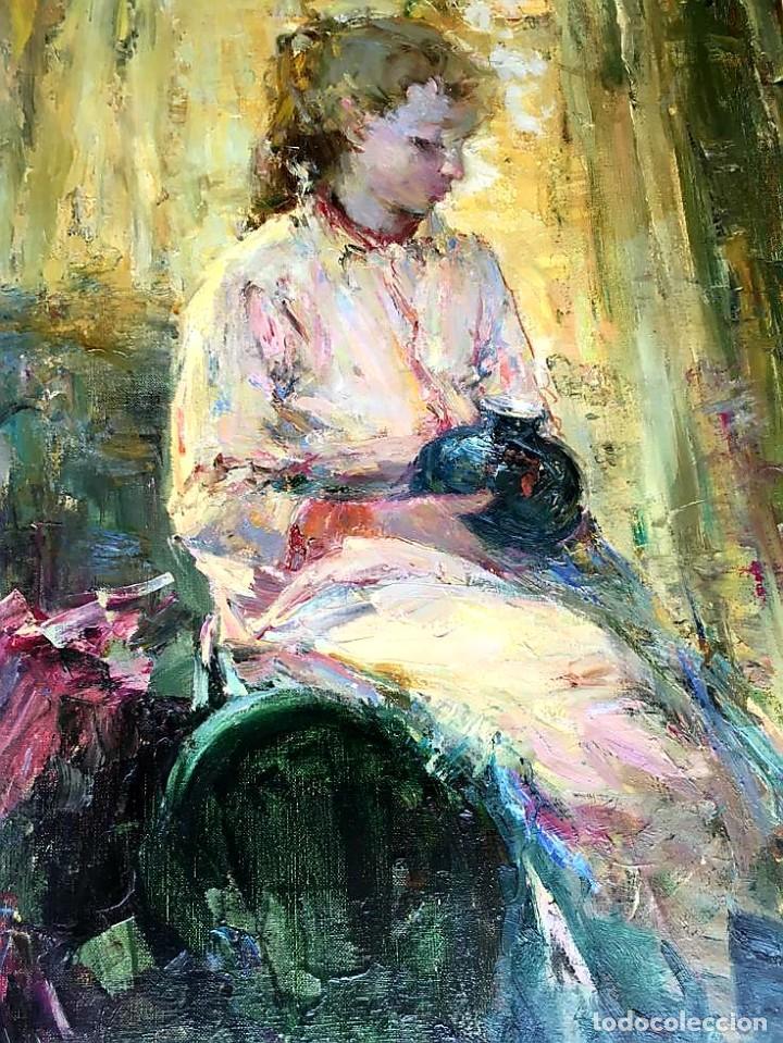 Arte: LUIS GINER BUENO (1935-2000) Magnífico óleo sobre lienzo del pintor titulado Contraluz - Foto 4 - 191885061