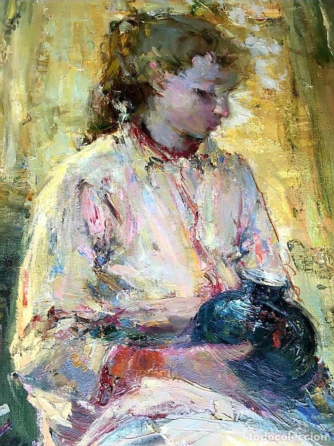 Arte: LUIS GINER BUENO (1935-2000) Magnífico óleo sobre lienzo del pintor titulado Contraluz - Foto 5 - 191885061