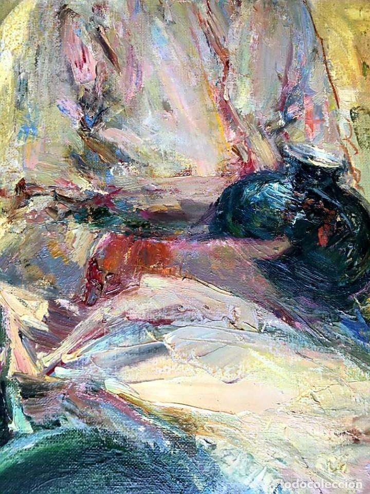 Arte: LUIS GINER BUENO (1935-2000) Magnífico óleo sobre lienzo del pintor titulado Contraluz - Foto 7 - 191885061