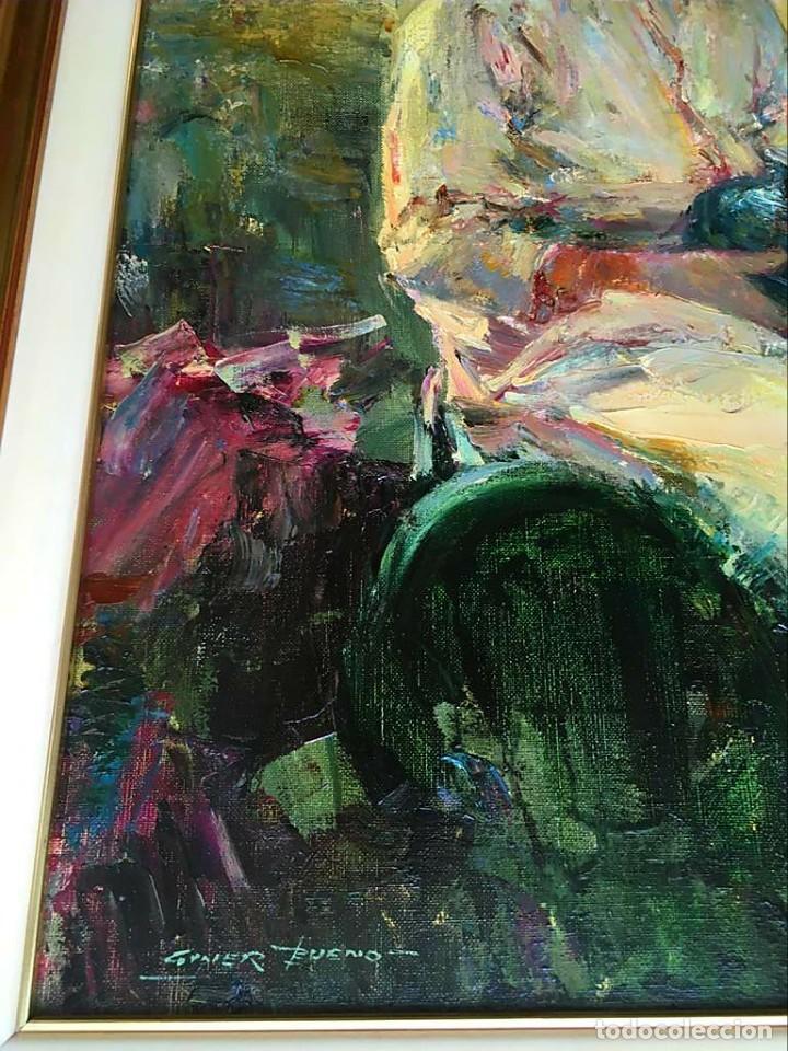 Arte: LUIS GINER BUENO (1935-2000) Magnífico óleo sobre lienzo del pintor titulado Contraluz - Foto 8 - 191885061
