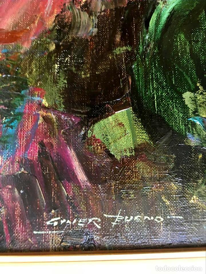 Arte: LUIS GINER BUENO (1935-2000) Magnífico óleo sobre lienzo del pintor titulado Contraluz - Foto 9 - 191885061