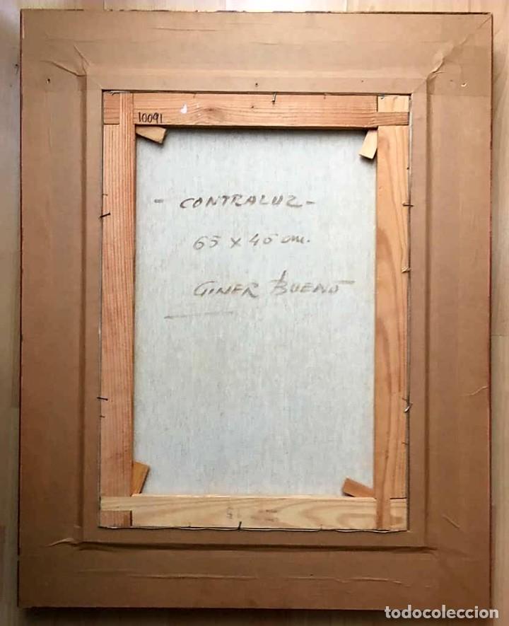 Arte: LUIS GINER BUENO (1935-2000) Magnífico óleo sobre lienzo del pintor titulado Contraluz - Foto 10 - 191885061