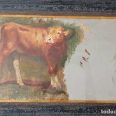 Arte: BOCETO AL OLEO SOBRE CARTÓN - VACA- SIN FIMAR S XIX - XX. Lote 191910067
