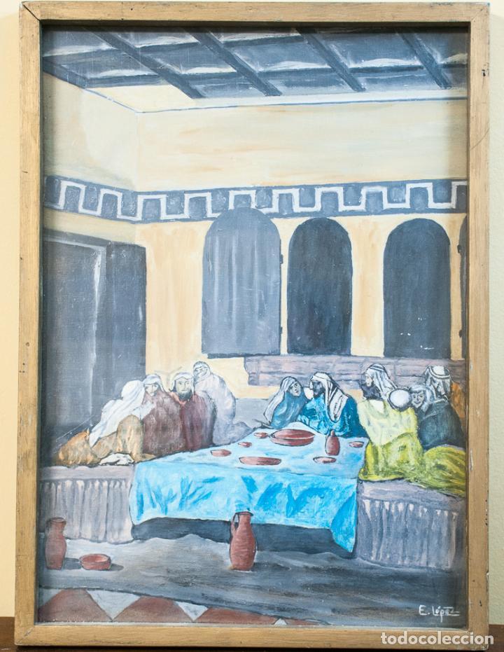 PINTURA AL OLEO SOBRE TABLA, SANTA CENA (Arte - Pintura - Pintura al Óleo Moderna sin fecha definida)