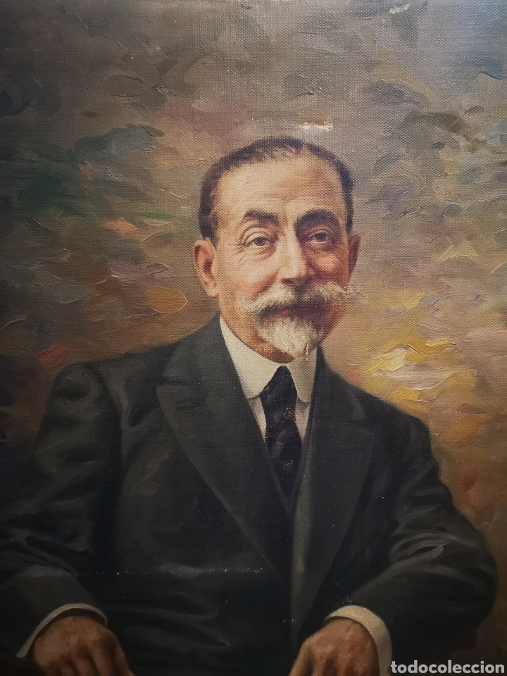 Arte: ANTIGUO RETRATO DE CABALLERO, FINALES DE S.XIX ppos XX, firma ilegible. 93x70cm - Foto 2 - 191915565
