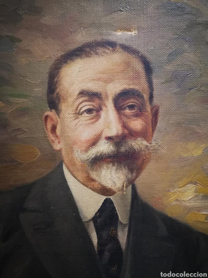 Arte: ANTIGUO RETRATO DE CABALLERO, FINALES DE S.XIX ppos XX, firma ilegible. 93x70cm - Foto 5 - 191915565