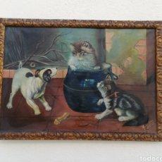 Arte: ANTIGUO CUADRO PINTADO AL OLEO FIRMADO Y FECHADO AÑOS 40 VALENCIA CON MARCO MADERA. Lote 214778990