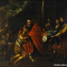 Arte: ÓLEO SOBRE LIENZO ESCENA BÍBLICA ESCUELA ESPAÑOLA SIGLO XVII. Lote 192057815