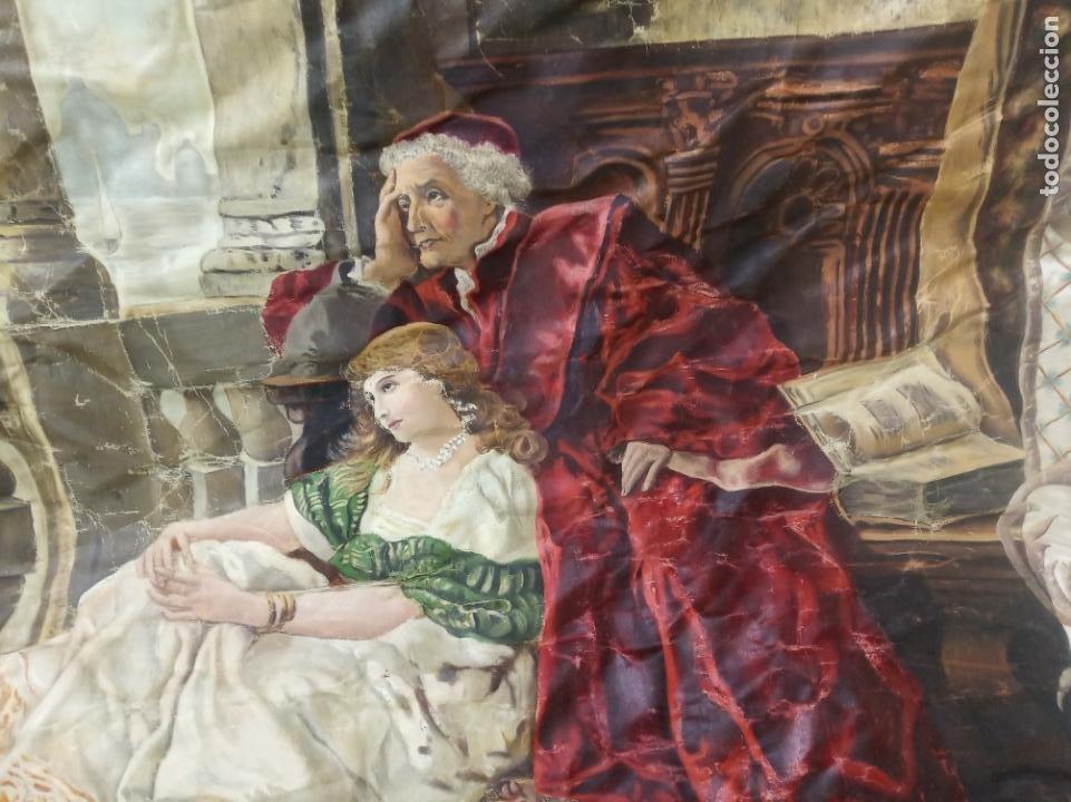 Arte: Espectacular obra pintada sobre colcha de seda con bellísimas borlas. Pieza única. Siglo XIX. - Foto 4 - 192068632