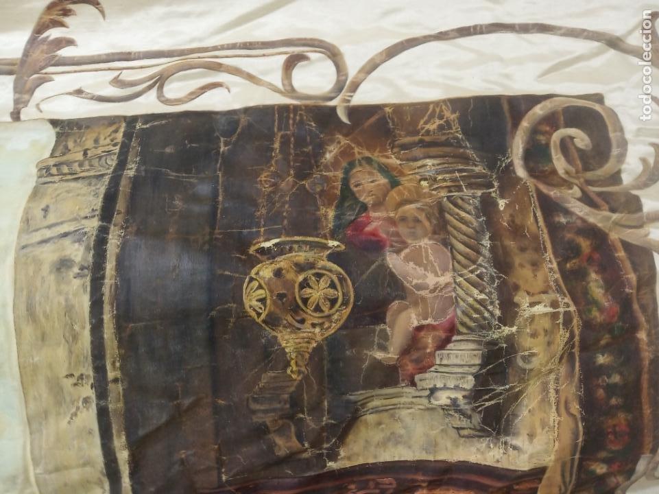 Arte: Espectacular obra pintada sobre colcha de seda con bellísimas borlas. Pieza única. Siglo XIX. - Foto 5 - 192068632