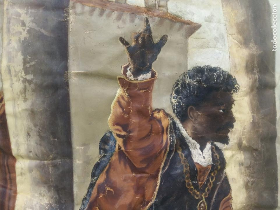 Arte: Espectacular obra pintada sobre colcha de seda con bellísimas borlas. Pieza única. Siglo XIX. - Foto 6 - 192068632