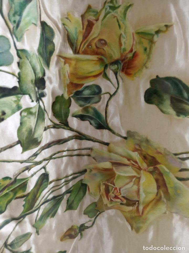Arte: Espectacular obra pintada sobre colcha de seda con bellísimas borlas. Pieza única. Siglo XIX. - Foto 8 - 192068632