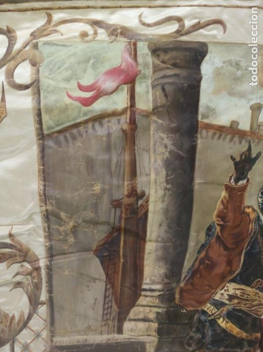 Arte: Espectacular obra pintada sobre colcha de seda con bellísimas borlas. Pieza única. Siglo XIX. - Foto 11 - 192068632