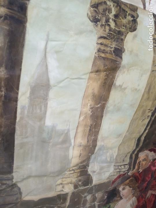 Arte: Espectacular obra pintada sobre colcha de seda con bellísimas borlas. Pieza única. Siglo XIX. - Foto 12 - 192068632