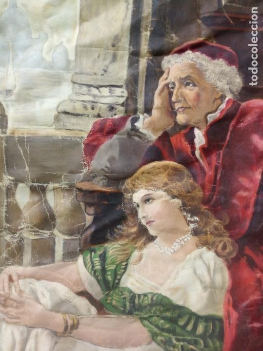 Arte: Espectacular obra pintada sobre colcha de seda con bellísimas borlas. Pieza única. Siglo XIX. - Foto 13 - 192068632