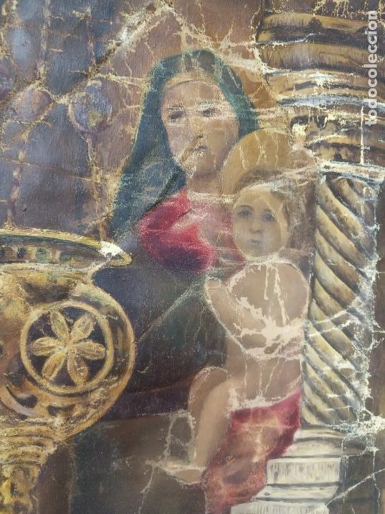 Arte: Espectacular obra pintada sobre colcha de seda con bellísimas borlas. Pieza única. Siglo XIX. - Foto 14 - 192068632