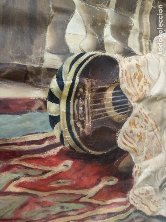 Arte: Espectacular obra pintada sobre colcha de seda con bellísimas borlas. Pieza única. Siglo XIX. - Foto 17 - 192068632