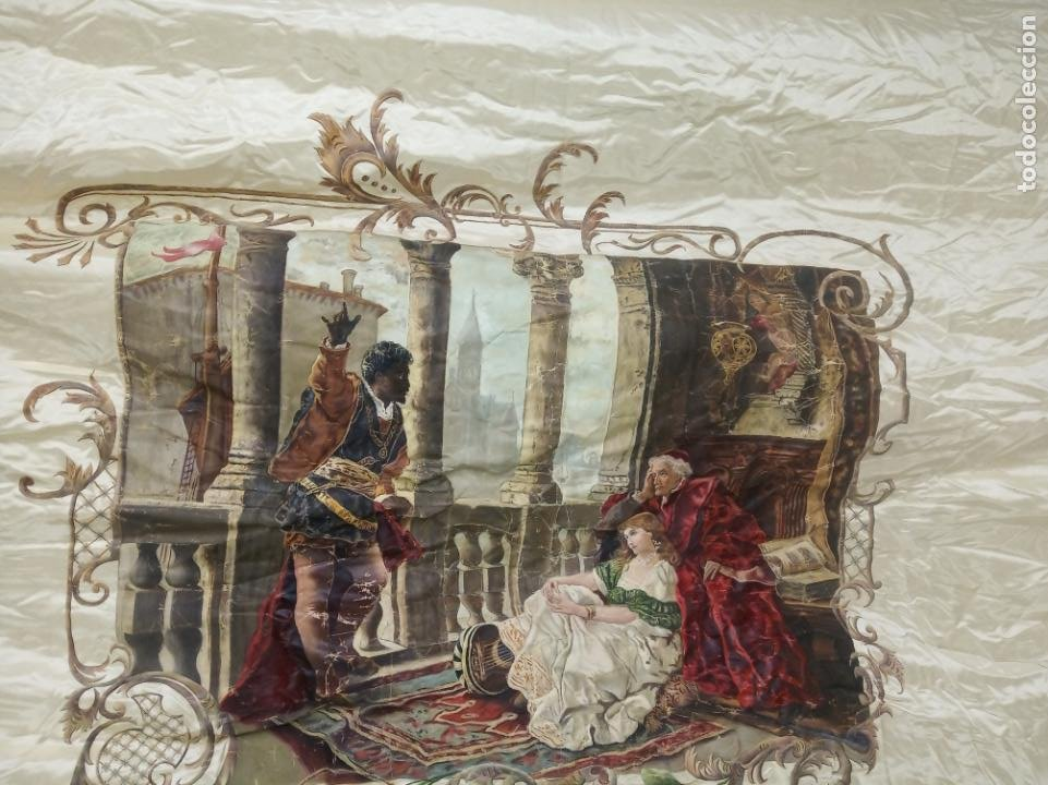 ESPECTACULAR OBRA PINTADA SOBRE COLCHA DE SEDA CON BELLÍSIMAS BORLAS. PIEZA ÚNICA. SIGLO XIX. (Arte - Pintura - Pintura al Óleo Moderna siglo XIX)
