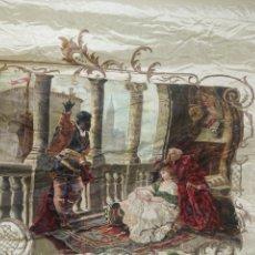 Arte: ESPECTACULAR OBRA PINTADA SOBRE COLCHA DE SEDA CON BELLÍSIMAS BORLAS. PIEZA ÚNICA. SIGLO XIX.. Lote 192068632