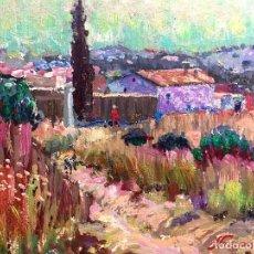 Arte: JORDI FREIXAS I CORTES (BARCELONA 1917-1984) ÓLEO CON PAISAJE RURAL FIRMADO Y TITULADO. Lote 192195596