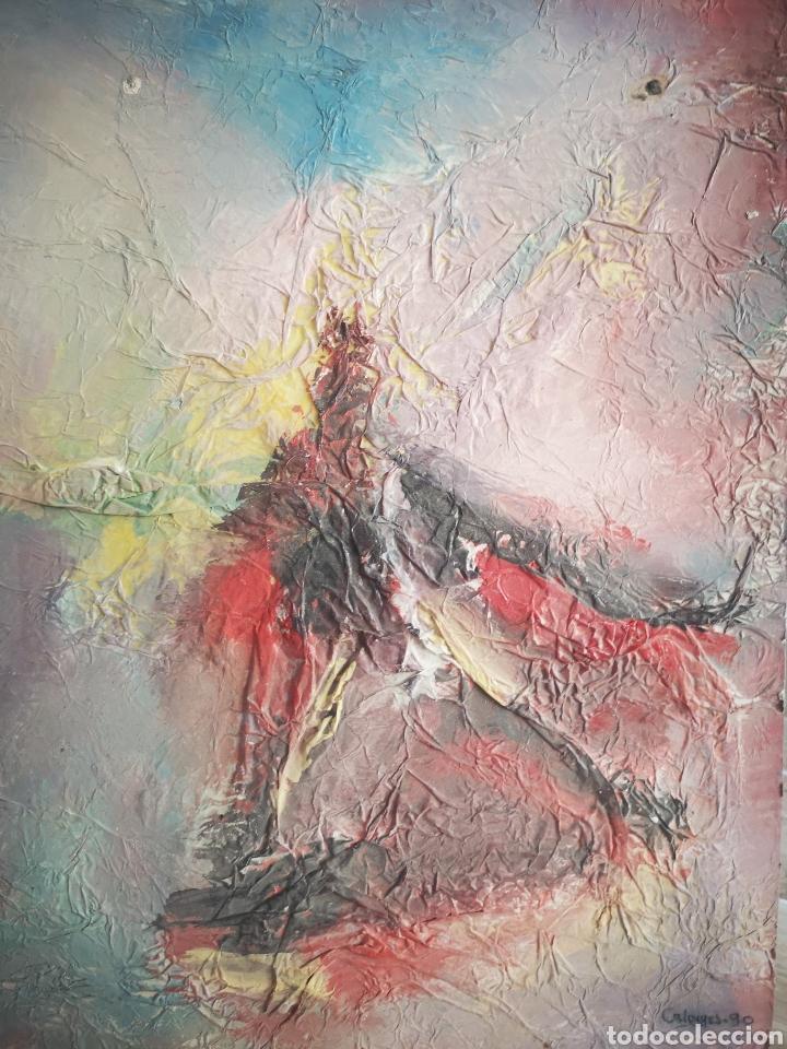 PINTURA ABSTRACTA, OLEO SOBRE CARTÓN, FIRMADO CALONGES, 40X30CM (Arte - Pintura - Pintura al Óleo Contemporánea )