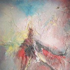 Arte: PINTURA ABSTRACTA, OLEO SOBRE CARTÓN, FIRMADO CALONGES, 40X30CM. Lote 192253893