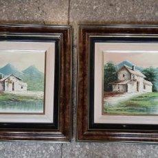 Arte: PAREJA DE PINTURAS AL OLEO ORIGINAL , PAISAJES NEVADOS . Lote 192277953