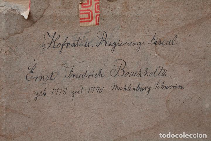 Arte: Retrato de Ernst Friederich Bouchholtz, pintura al pastel sobre papel, escuela alemana s.XVIII. - Foto 5 - 192330550