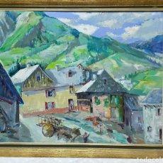 Arte: ANTIGUO OLEO SOBRE LIENZO PAISAJE COSTUMBRISTA. Lote 192395911
