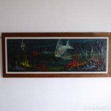 Arte: GRAN OLEO SOBRE MADERA - VIDA MARINA - FIRMADO - SIN FECHAR. Lote 192542631