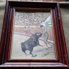 Arte: PINTURA OLEO SOBRE LIENZO EN CARTON - PAR DE BANDERILLAS - TOROS - FIRMADO G. MORENO.- TAUROMAQUIA. Lote 192625933