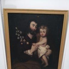 Arte: ÓLEO LIENZO '' SAN JOSÉ CON NIÑO JESÚS ''. SIGLO XVII ESCUELA SEVILLANA CÍRCULO DE MURILLO. Lote 192750336