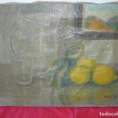 Arte: OLEO / TELA - FDO. OSCAR - BODEGÓN CON JARRA Y VASO. Lote 192802825