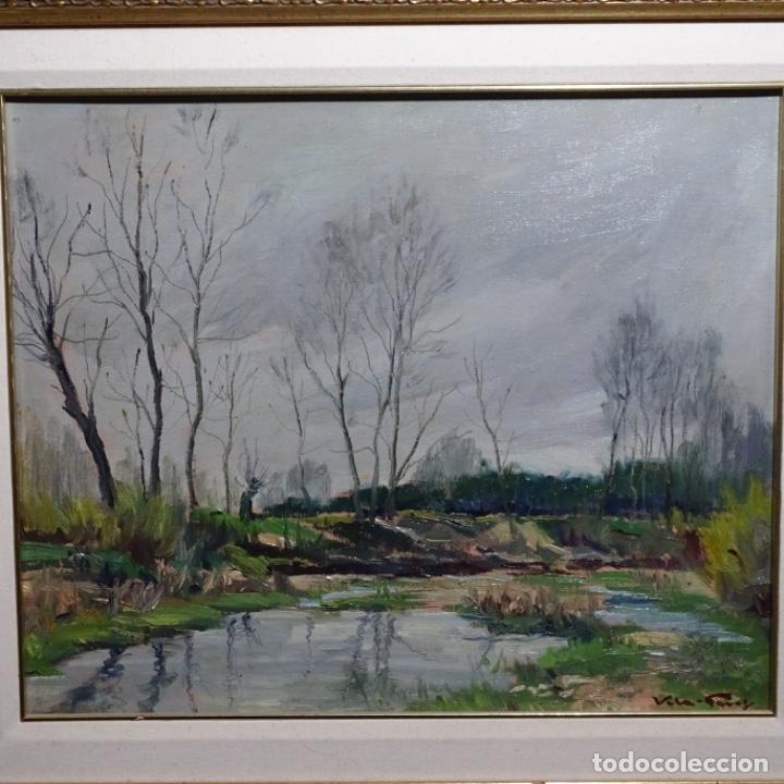 OLEO SOBRE TABLEX DE JOAN VILA PUIG (1890-1963).PAISAJE DE SANTA COLOMA DE FARNES.BIEN ENMARCADO. (Arte - Pintura - Pintura al Óleo Contemporánea )