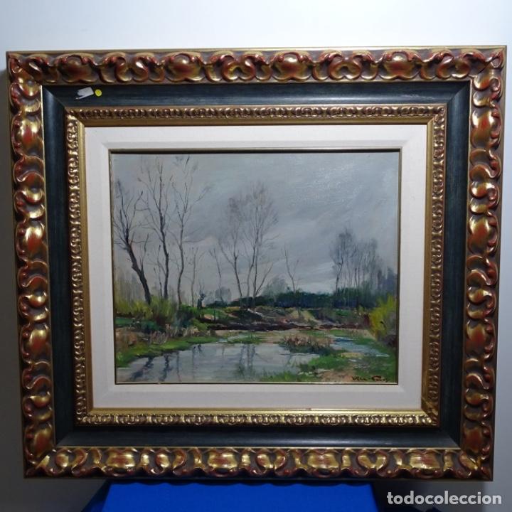 Arte: Oleo sobre tablex de Joan vila puig (1890-1963).paisaje de santa Coloma de farnes.bien enmarcado. - Foto 2 - 192844283